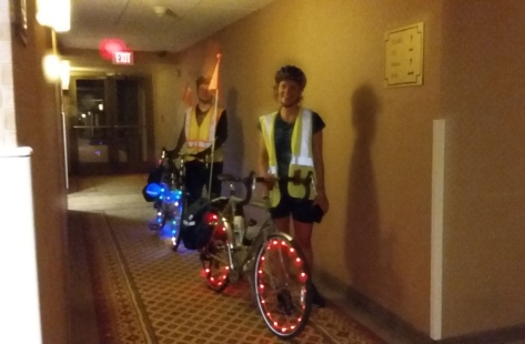 Carsten and Nalani arriving at our hotel after dark. They used their wheel lights for the first time.